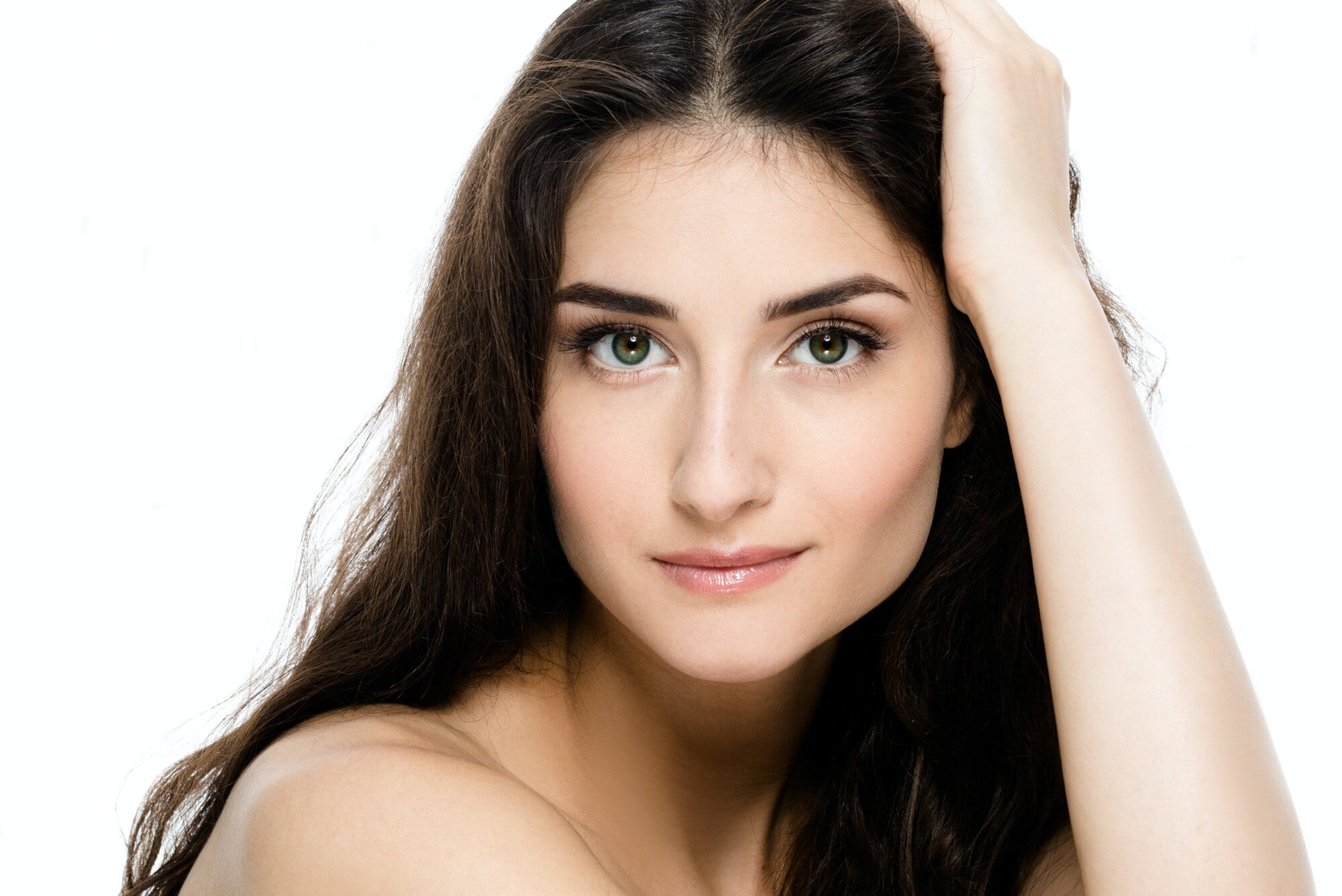 Beautiful Young Adult Woman with Clean Fresh Skin Portrait.