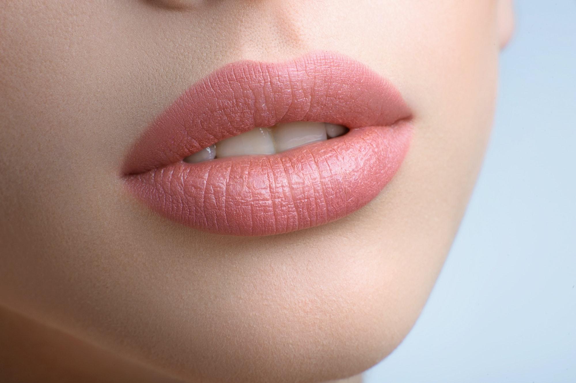 Gorgeous full lips of a beautiful woman