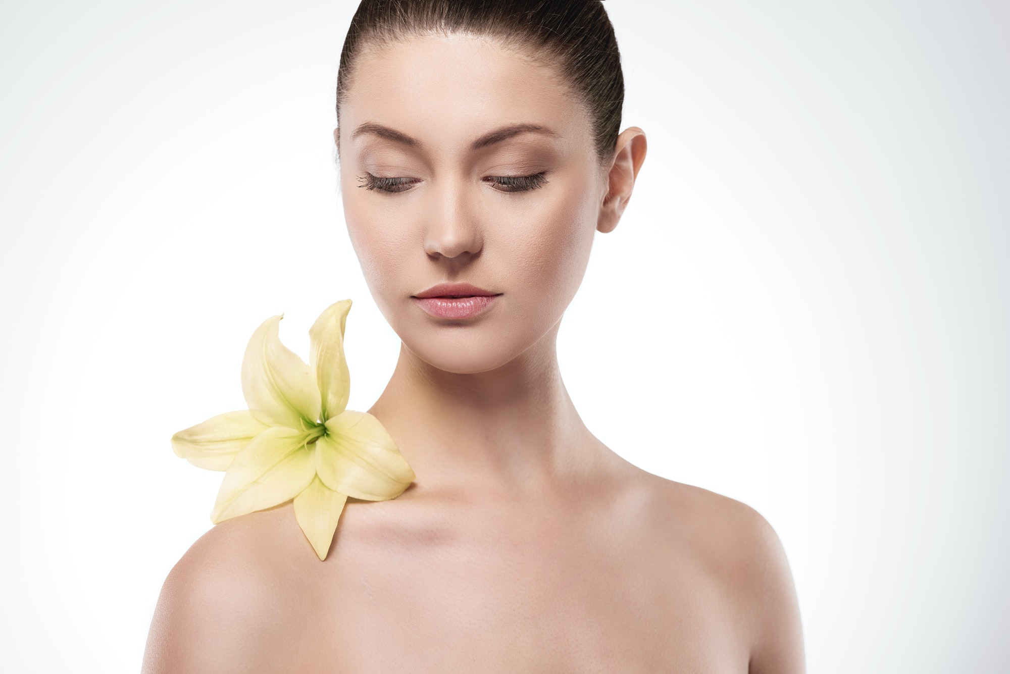 Natural beauty of woman with flower
